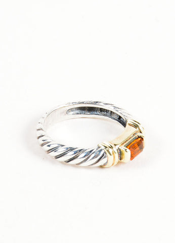 Sterling Silver, 14K Gold, and Citrine Embellished David Yurman Cable Ring Sideview