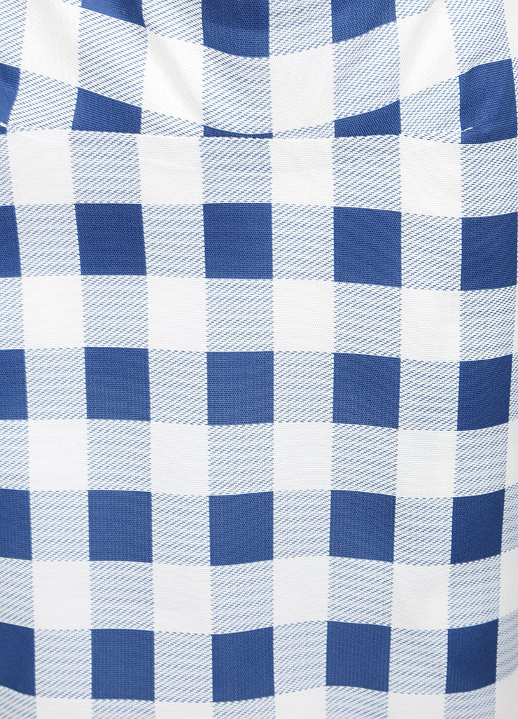 Derek Lam New With Tags Blue and White Checkered Plaid Silk Blend Seamed Skirt Detail