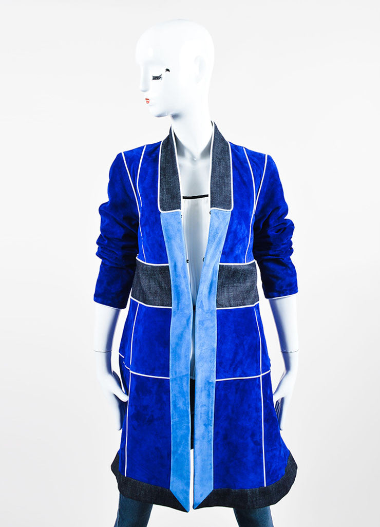 Blue Derek Lam Suede Leather Patchwork Coat Frontview