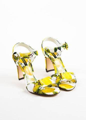 Dolce & Gabbana Yellow and White Brocade Lemon Print Heeled Sandals Frontview
