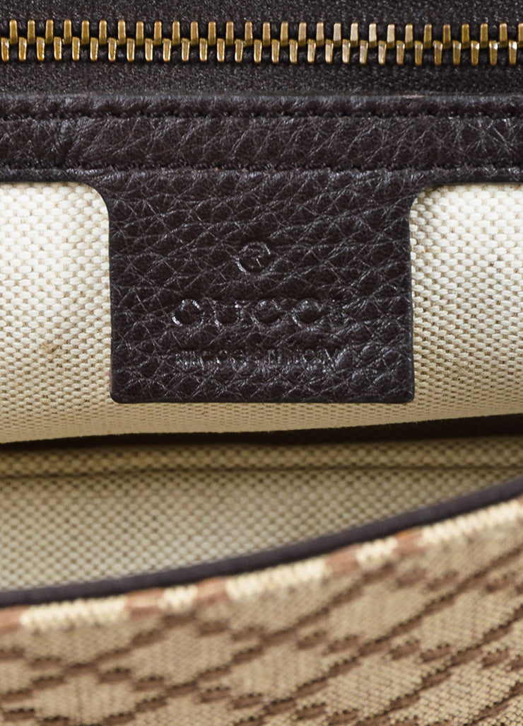"Gucci Brown and Tan Leather ""Diamante"" Canvas ""1973"" Collection Handbag Purse Brand"