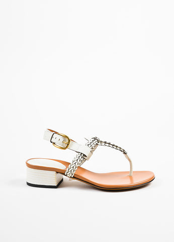"White Gucci Leather Braided Thong Block Heel ""Candy"" Sandals Side"