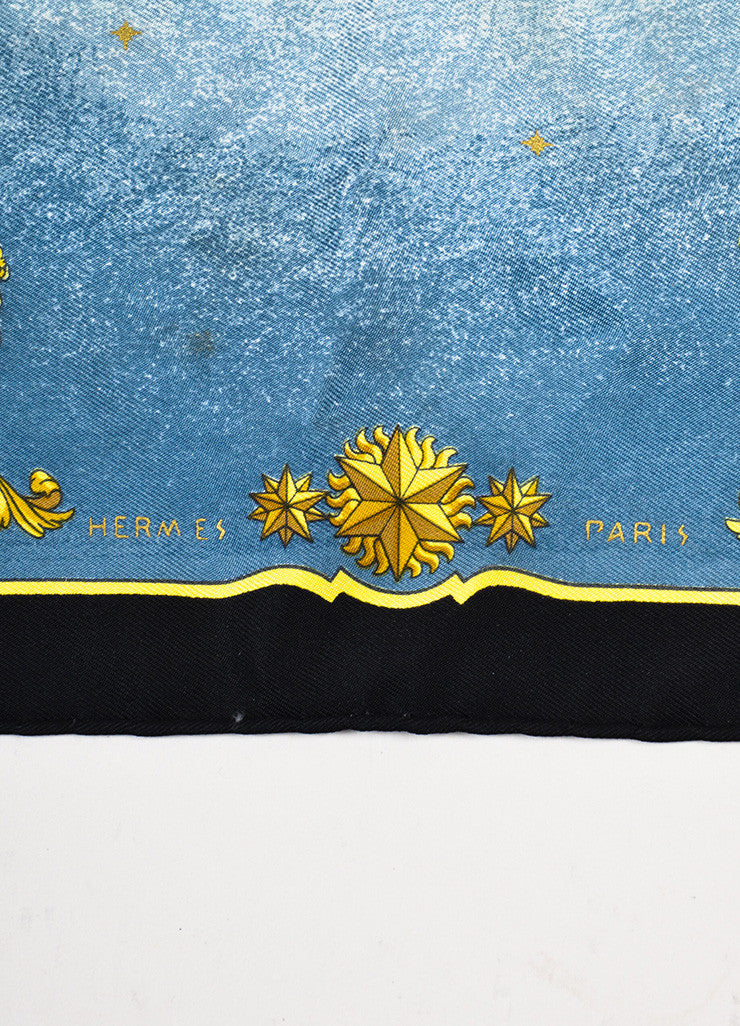 "Hermes Blue Black Yellow Gold Silk Grecian Print ""Cosmos"" Handkerchief Detail 2"