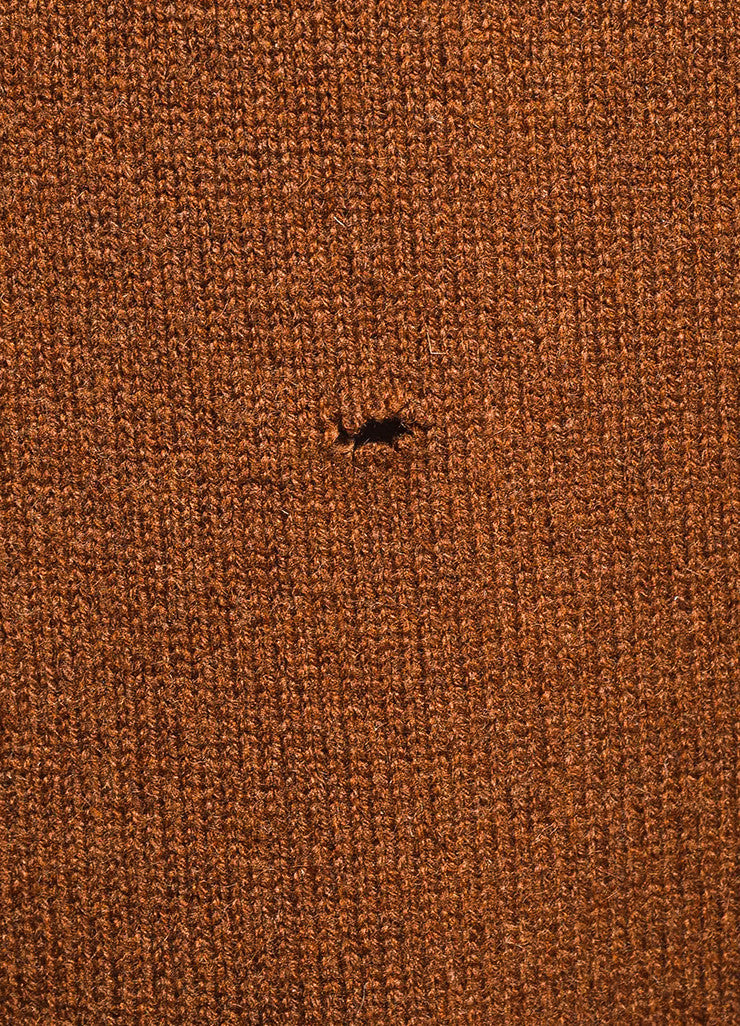 Hermes Brown Turtleneck Ribbed Trim Sleeveless Sweater Dress Detail 2