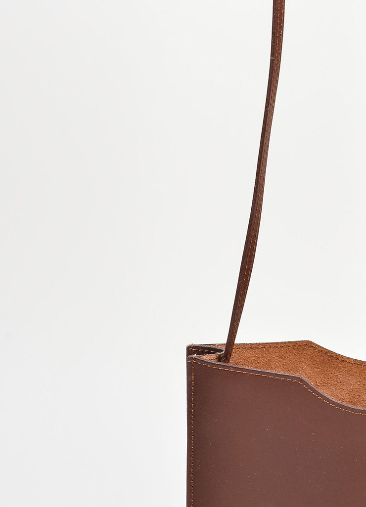 "Dark Brown Leather Hermes ""Onimaitou"" Flat Pouch Crossbody Bag Detail 2"