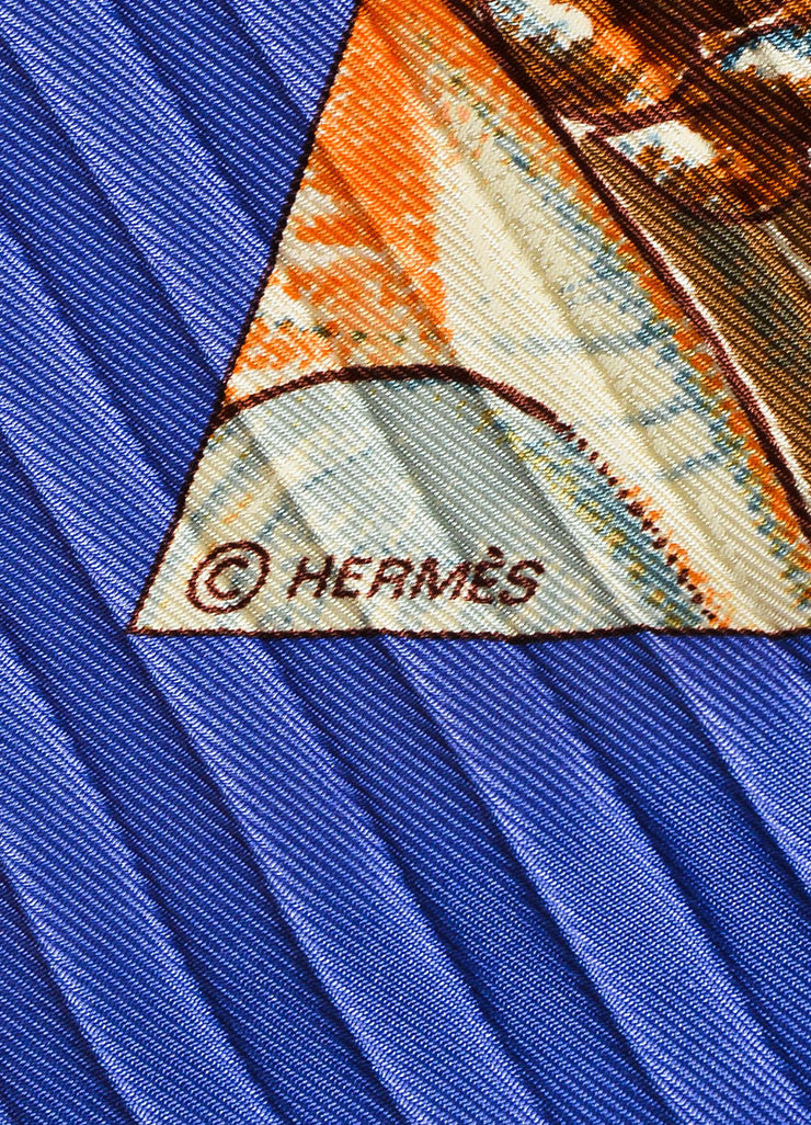 "Hermes Periwinkle and Multicolor Silk Plisse Shell Print ""Rocaille"" Diamond Scarf Brand"
