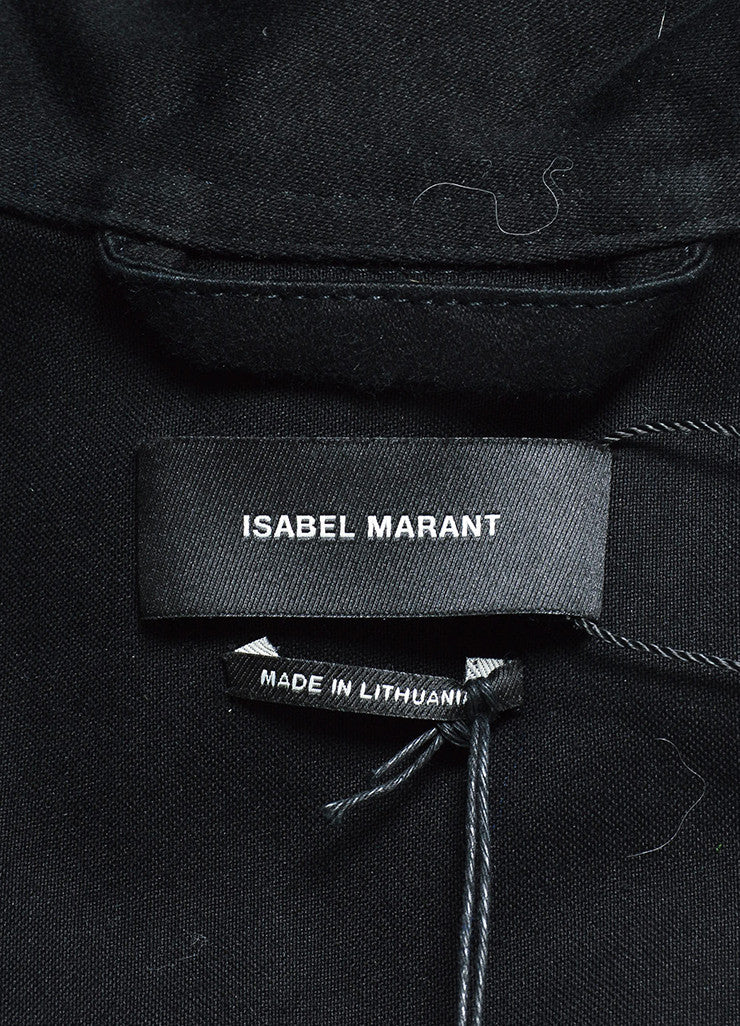 "Isabel Marant Black Button Up Peplum ""Janey"" Belted Jacket Brand"