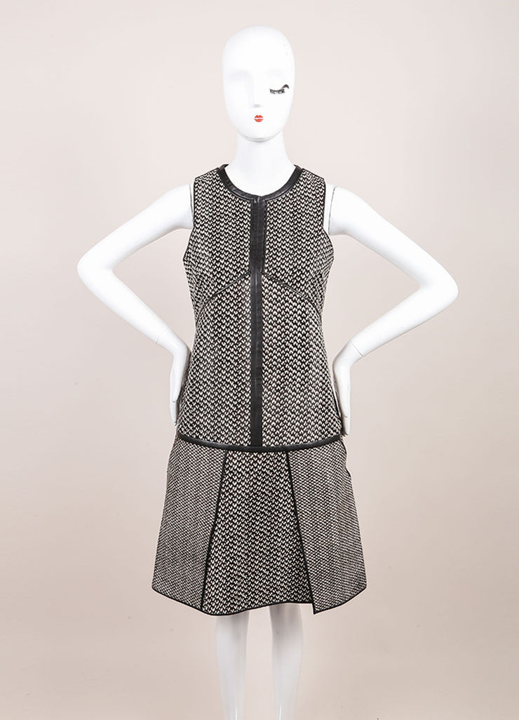 J. Mendel New With Tags Black and White Haircalf Leather Dropped Waist Dress Frontview