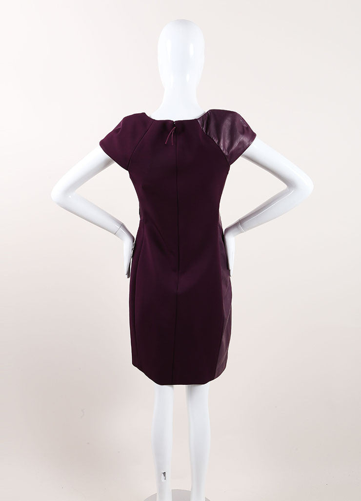 J. Mendel New With Tags Purple Leather Trim Cap Sleeve Gathered Sheath Dress Backview