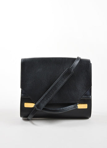 "J. Mendel Black and Navy Leather Handle Flap ""Midi Clutch"" Cross Body Bag Frontview"