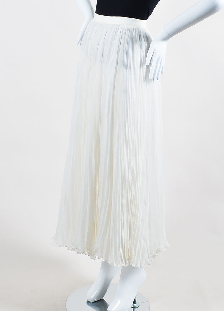 Ivory White J. Mendel Silk Chiffon Accordion Pleated Maxi Skirt Sideview