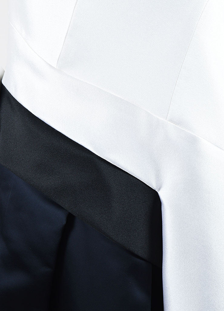 White, Black, and Navy J. Mendel Silk Scuba Short Sleeve Color Block Dress Detail
