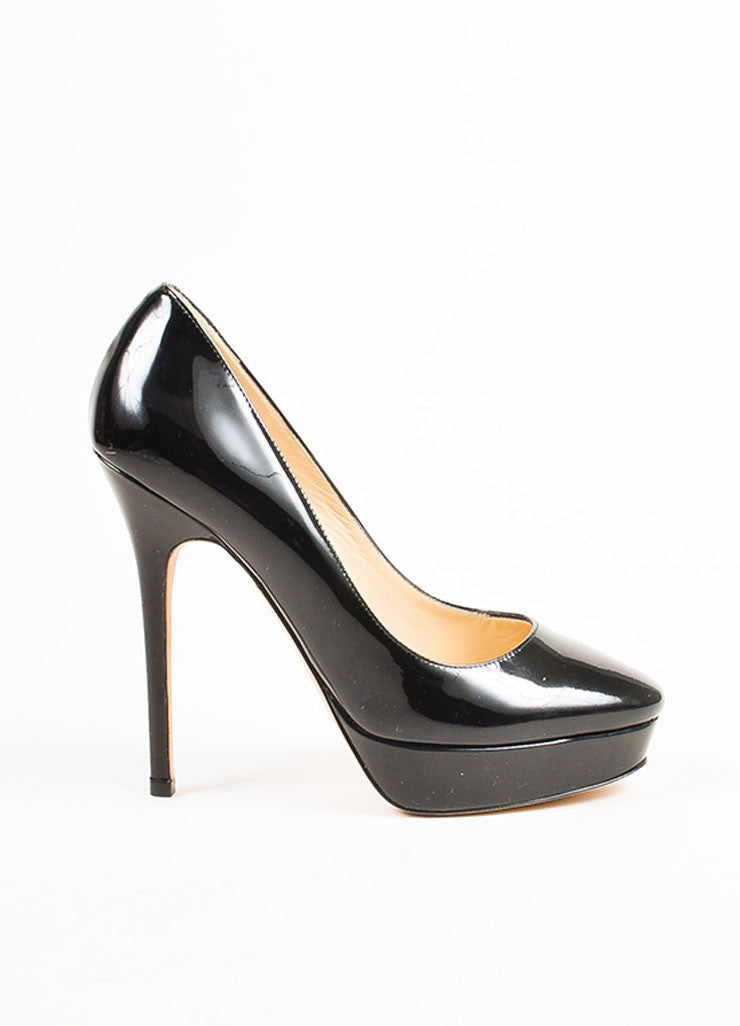 Jimmy Choo Black Patent Leather Round Toe High Heel Platform Pumps Sideview