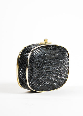 Judith Leiber Black Rhinestone Crystal Chain Strap Small Minaudiere Clutch Bag Sideview