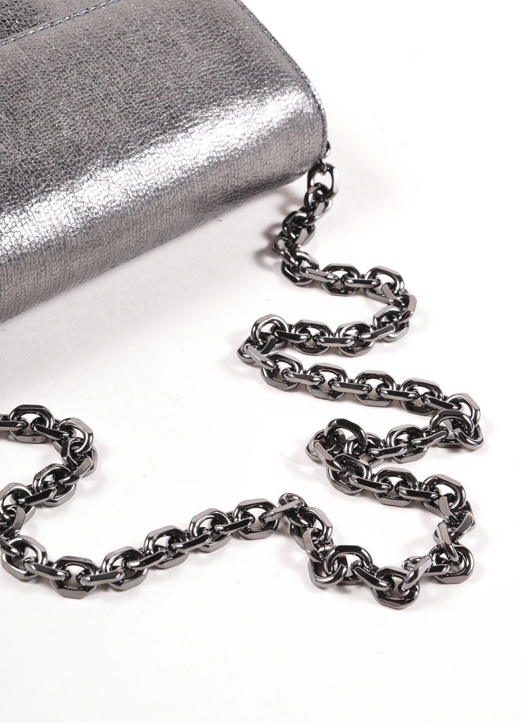 Judith Leiber Grey Metallic Leather Chain Strap Clutch Bag Detail 3