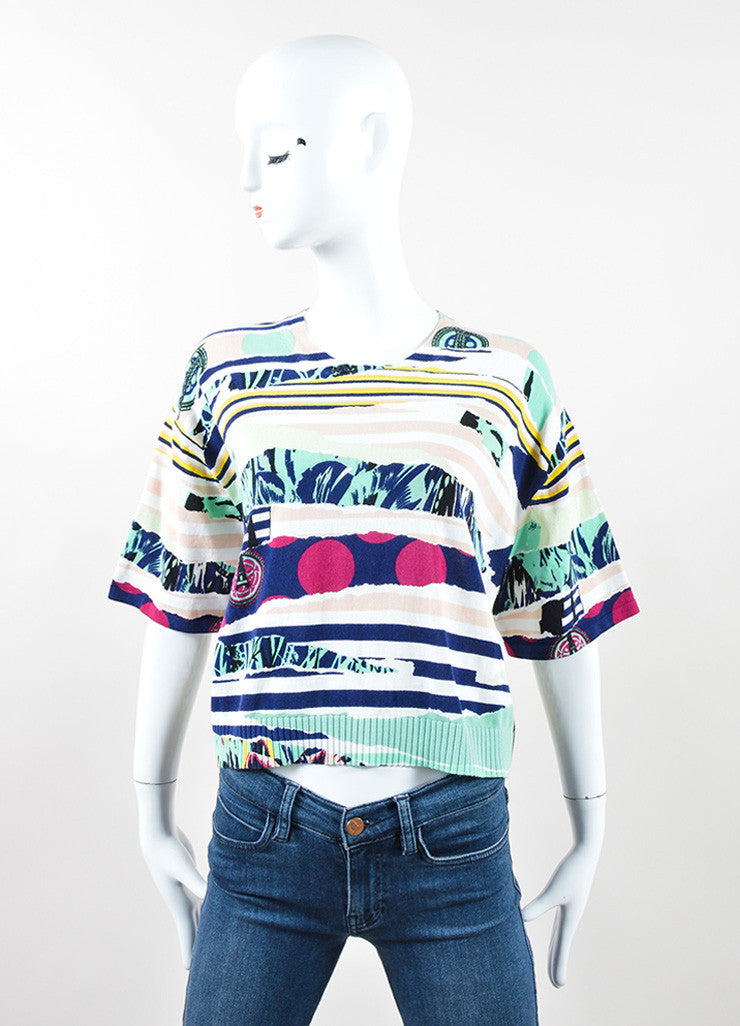 "Kenzo Multicolor ""Torn Paper"" Print Short Sleeve Sweater Frontview"