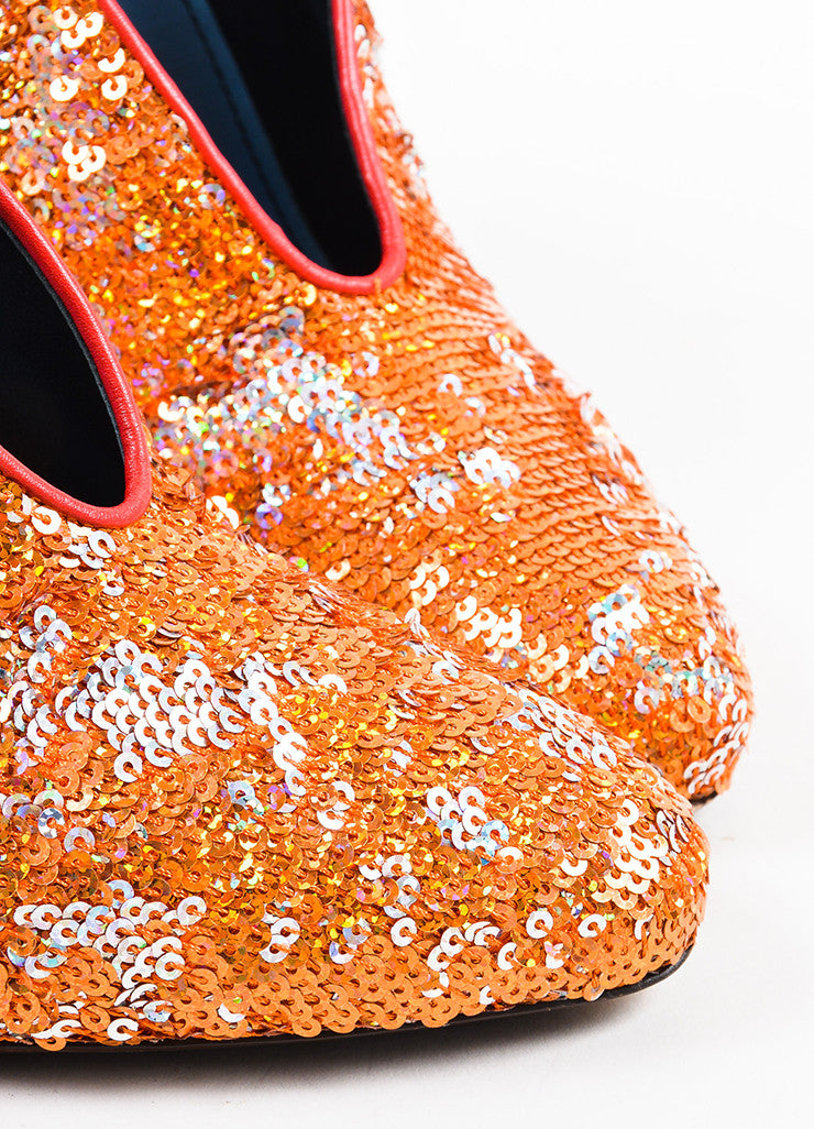 Lanvin Orange, Silver, and Gold Leather Sequined Pumps Detail
