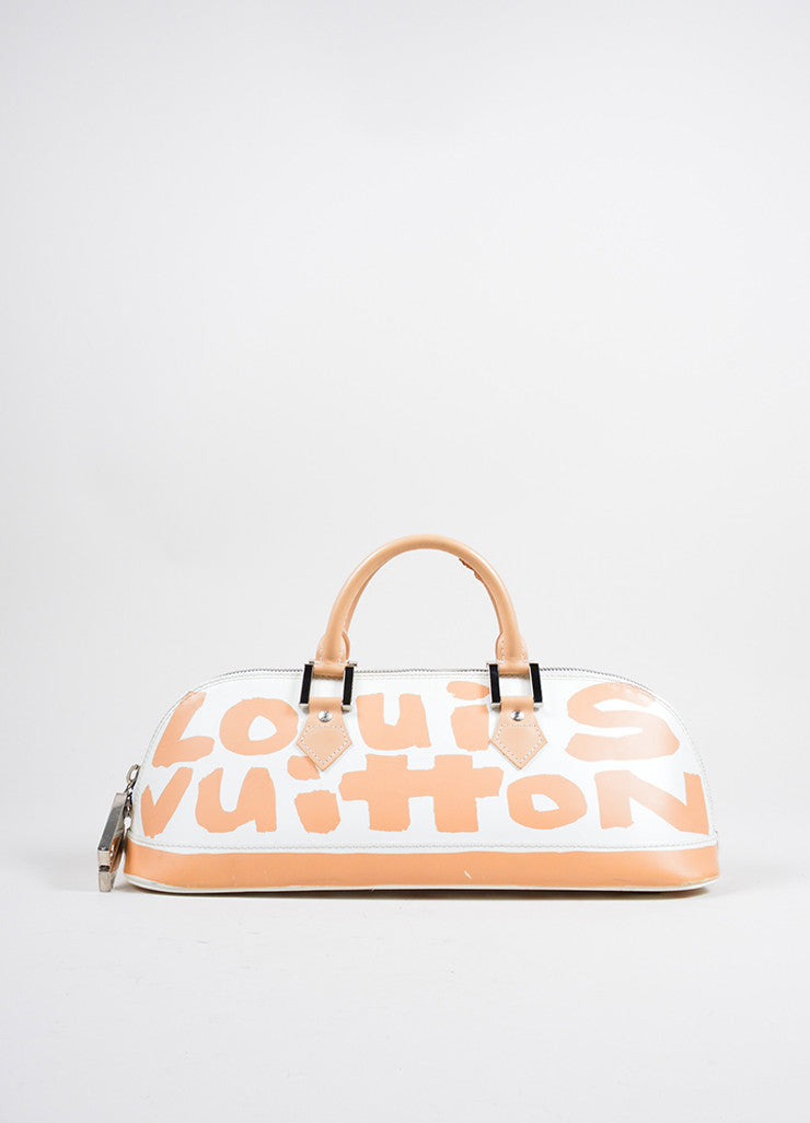 Louis Vuitton White and Tan Graffiti Horizontal Bag Front