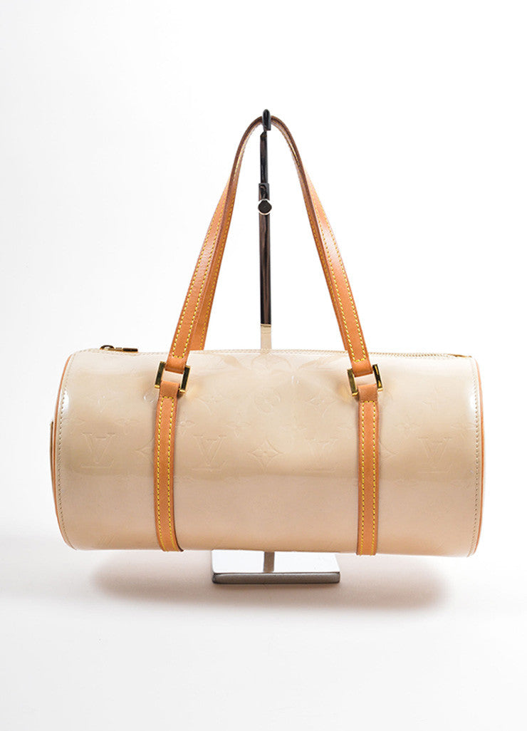"Louis Vuitton Beige Patent Leather Monogram ""Vernis Bedford"" Barrel Bag Frontview"