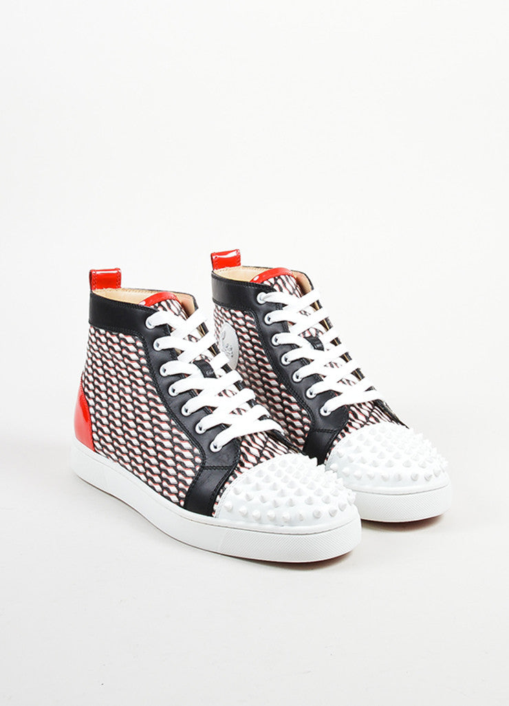 "Men's Christian Louboutin Black, White, and Red ""Lou Spike"" Hi Top Sneakers Frontview"