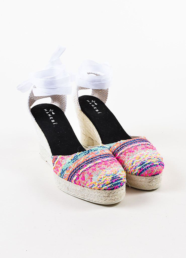 Manebi Pink and Multicolor Tweed Ankle Wrap Espadrille Wedge Heels Frontview