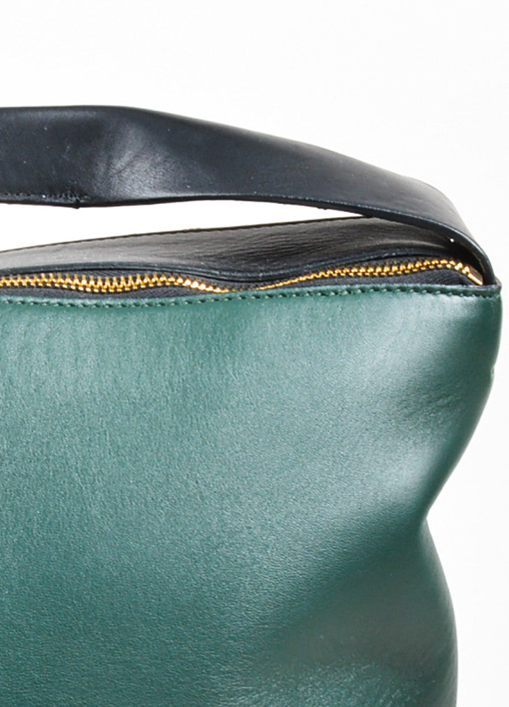 Marni Dark Green, Navy, and Black Leather Color Block Oversized Hobo Bag Detail 2