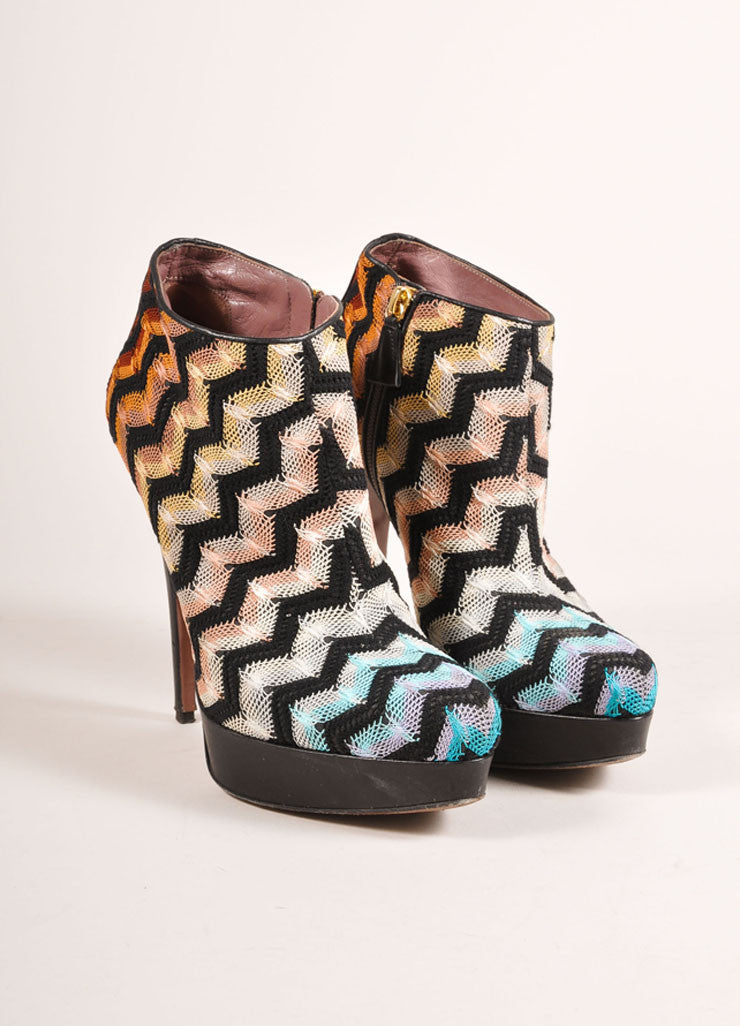 Missoni Black and Multicolor Zig Zag Knit High Heel Booties Frontview