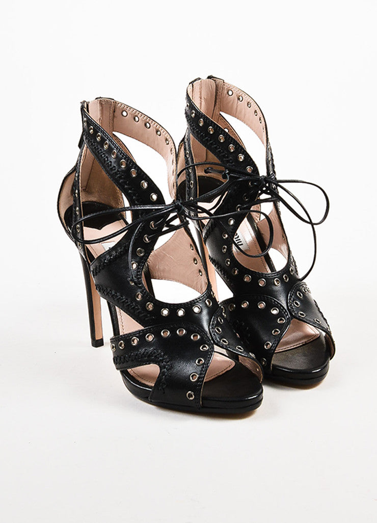 Miu Miu Black Leather Lace Up Grommet Sandal Heels Frontview