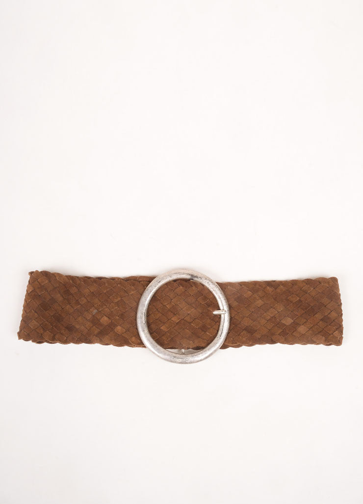 Brown Suede Leather Woven Oversized Buckle Belt