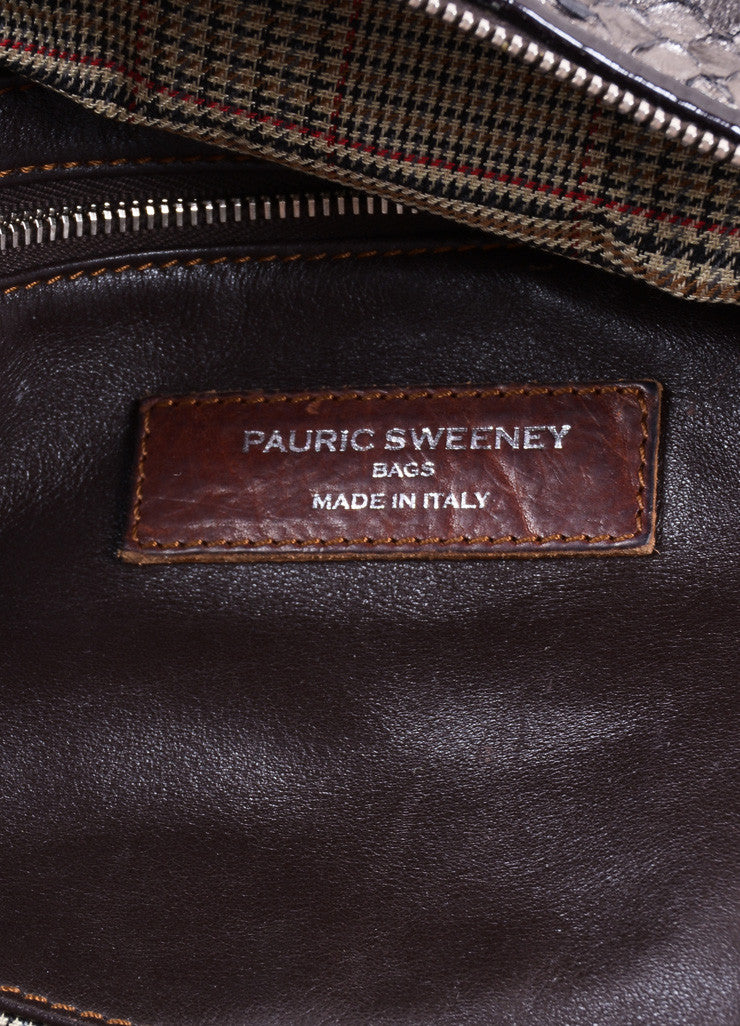 "Pauric Sweeney Metallic Silver and Brown Python Leather ""Overnight"" Satchel Handbag Brand"