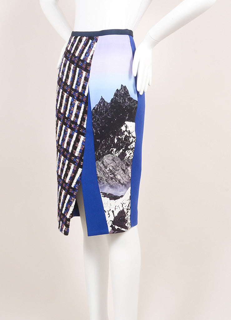 Peter Pilotto New With Tags Royal Blue and Black Wool Woven Tweed Printed Skirt Sideview