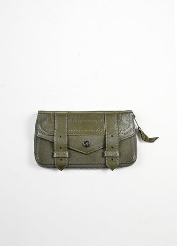 Olive Green Proenza Schouler Leather Zip Wallet Frontview