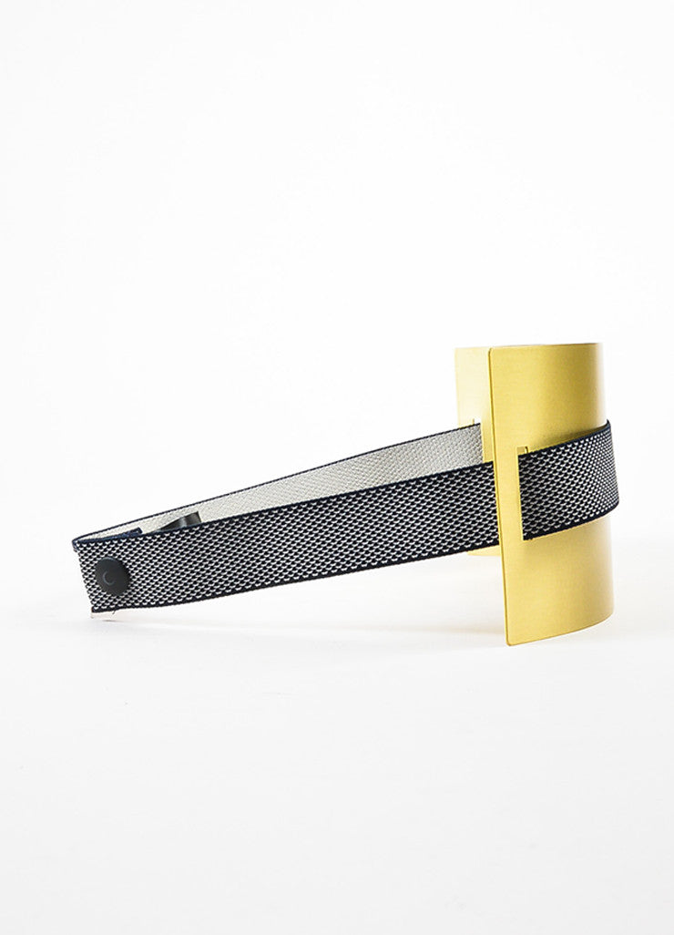 Roksanda Navy and Brushed Gold Toned Brass Wide Interwoven Plate Waist Belt Sideview