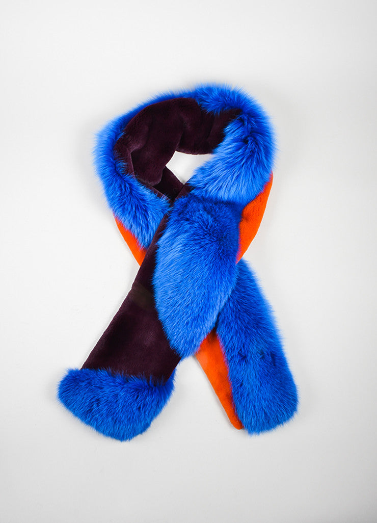 "Blue, Orange, and Burgundy Roksanda Fox Rabbit Fur ""Lathan"" Scarf Frontview"