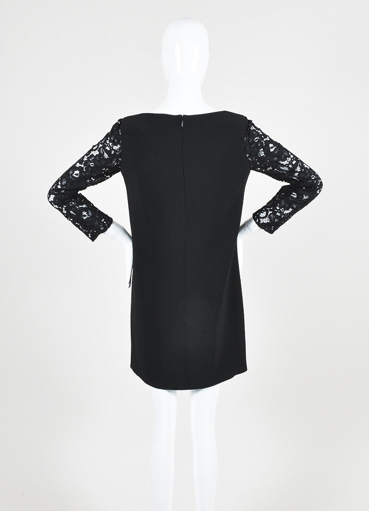 Saint Laurent Black Lace Three Quarter Sleeve Round Neck Shift Dress Backview