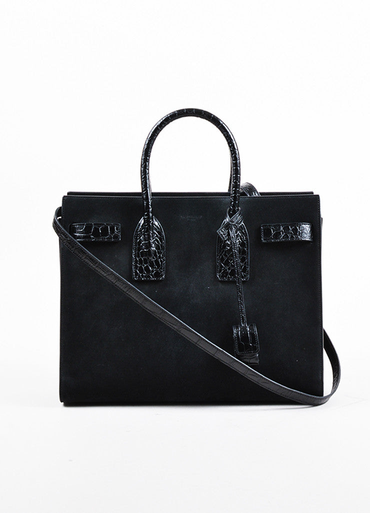 "Black Saint Laurent Suede Embossed Leather Small ""Sac de Jour"" Tote Front"
