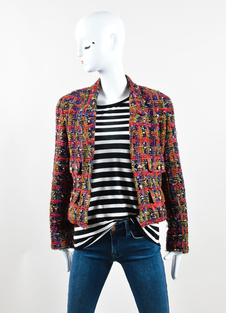 Chanel Multicolor Wool Mohair Blend Tweed Jacket Front