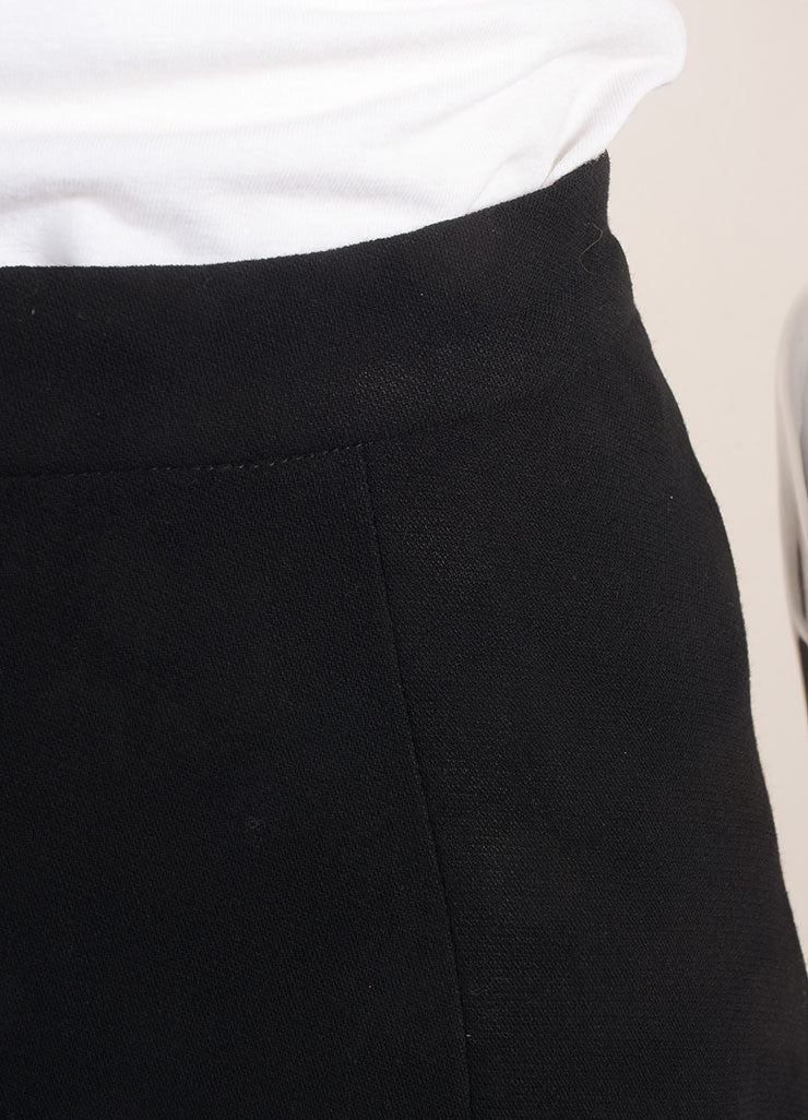 Chanel Black Pleated Wool Knee Length Skirt Detail