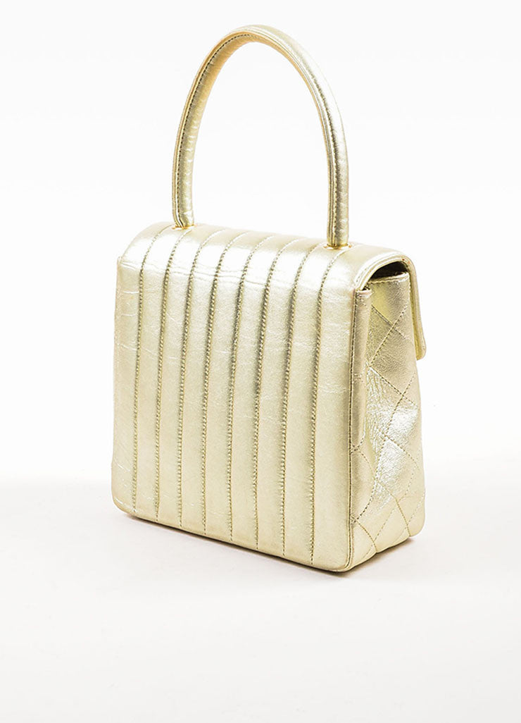 "Chanel Metallic Gold Leather Vertical Quilted ""Kelly Flap"" Handbag Sideview"
