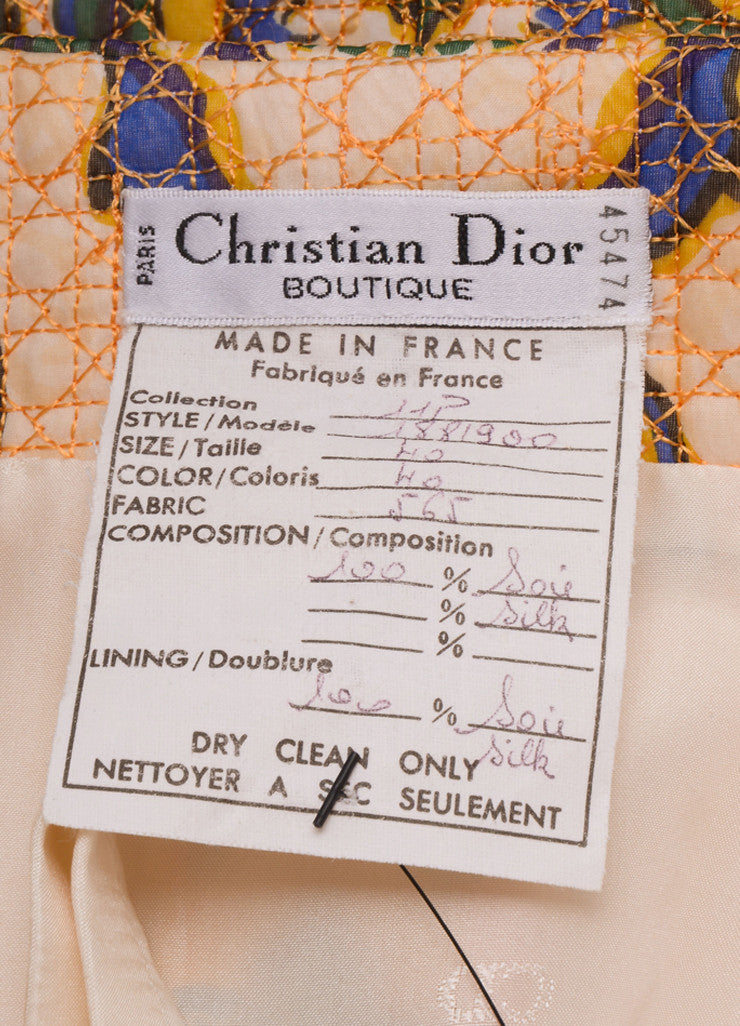 Christian Dior White and Yellow Silk Baroque Print Quilted Skirt Brand