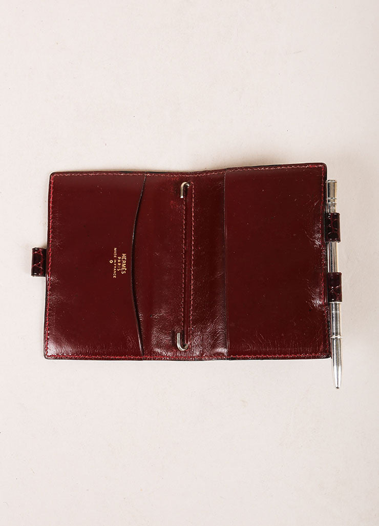 Hermes Burgundy Crocodile Leather Mini Agenda Cover Interior