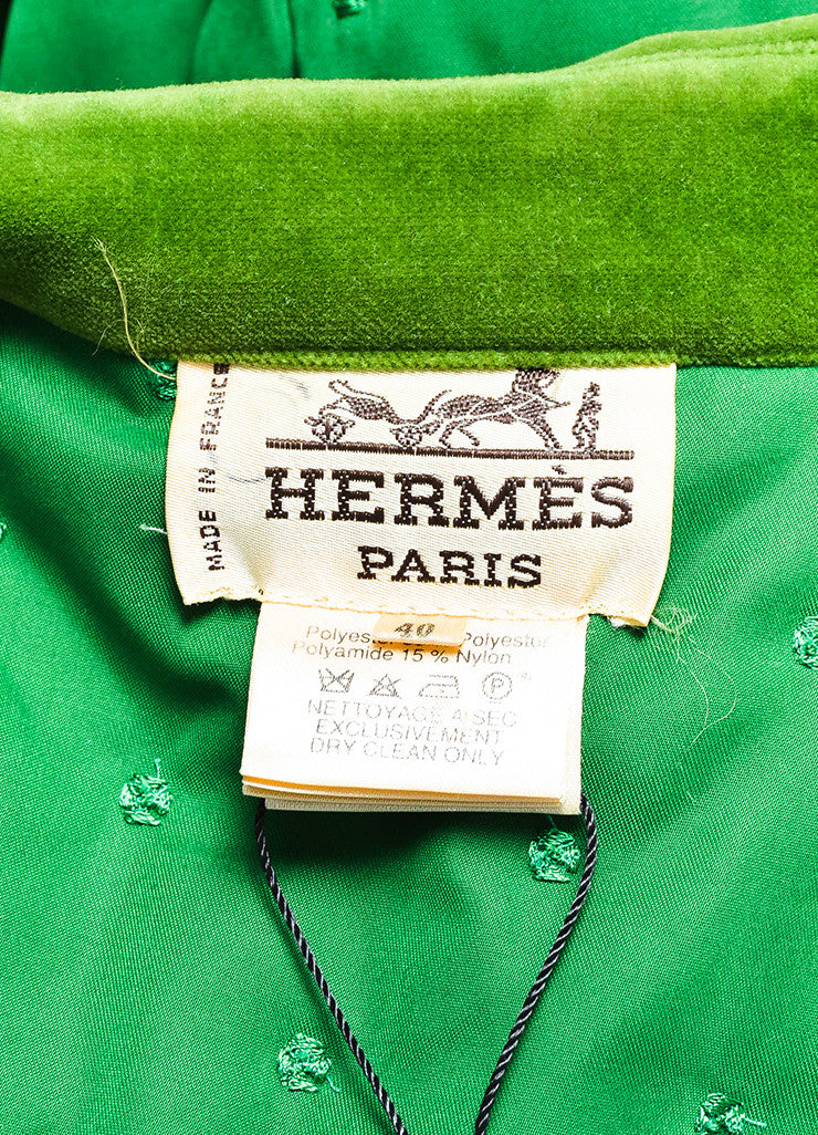 Hermes Green Embroidered Quilted Velvet Collar Oversized Jacket Brand