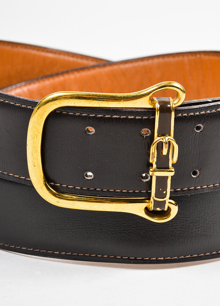 Men's Hermes Brown Leather Gold Toned Buckle Belt Detail