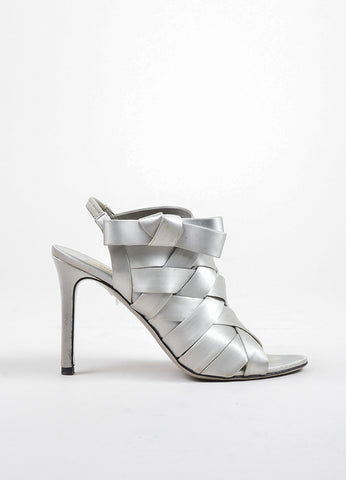 Valentino Grey Woven Satin Open Toe Bow Embellished Pumps Sideview