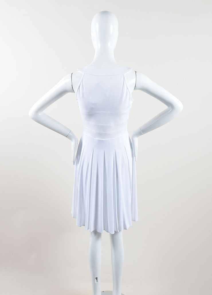Versace White Knit Sleeveless Pleated Skater Dress Back