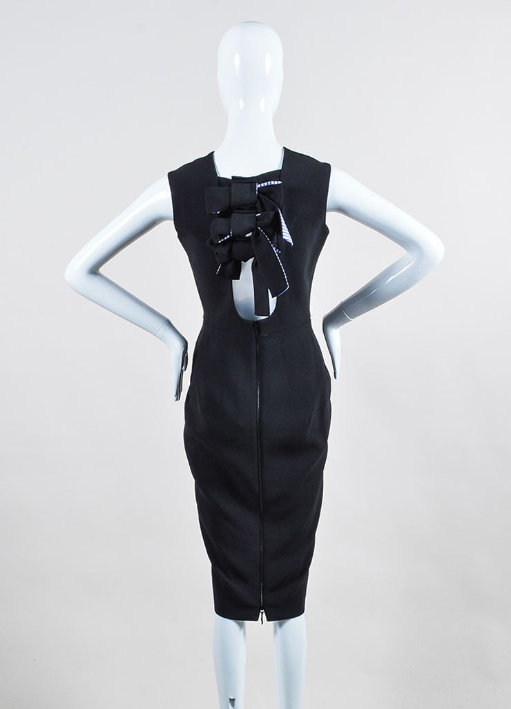 Black Victoria Beckham Silk and Wool Back Bow Sleeveless Sheath Dress Backview