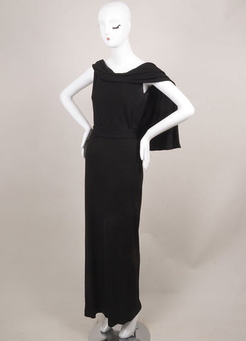 Vivienne Westwood Black Strapless Corset Draped Long Dress Sideview