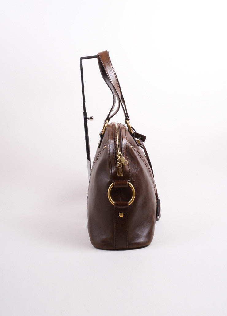 "Yves Saint Laurent Brown Leather ""Muse"" Shoulder Bag Sideview"