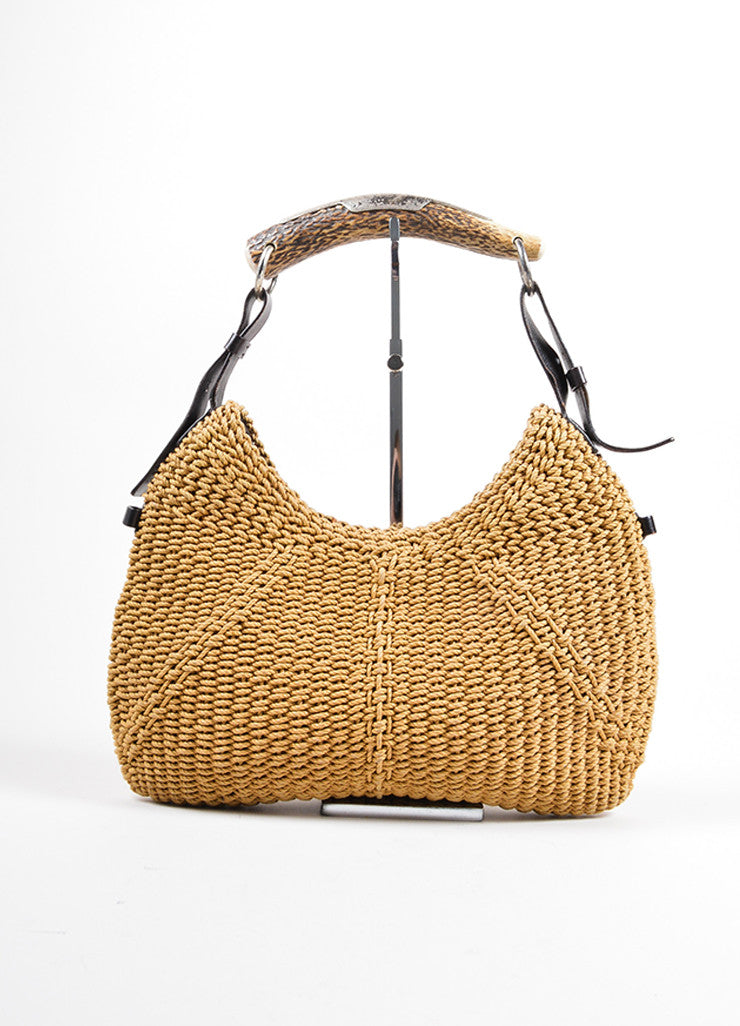 "Yves Saint Laurent Tan and Brown Woven Horn Handle Shoulder ""Mombasa"" Bag Frontview"