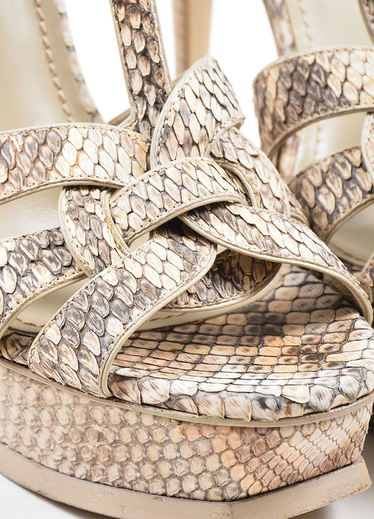"Tan and Taupe Yves Saint Laurent Python Leather ""Tribute"" Sandal Heels Detail"